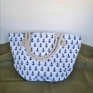 Handbags - :: SOLD :: Anchor pattern white large beach tote