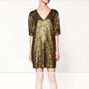 Zara Dresses & Skirts - 🆕 Zara Gold Woven Dress