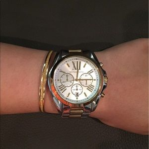2760b260d8bc Michael Kors Accessories - MK Oversized Bradshaw Two-Tone Watch
