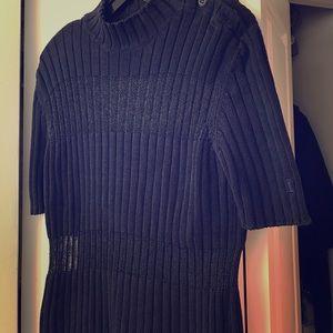 Iceberg Sweaters - Iceberg Blue Short-Sleeved Sweater w/ Silver Panel