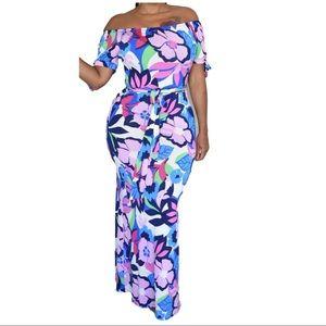 New Floral Off The Shoulder Maxi Dress
