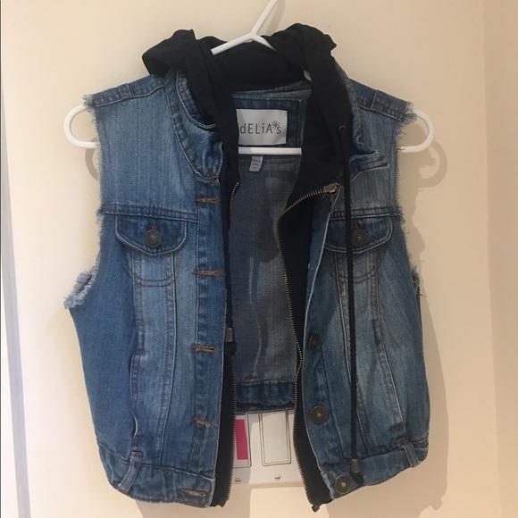 professional website Official Website best site Delia's blue jean vest with hoodie