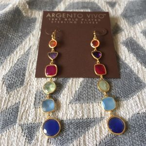 Argento Vivo Jewelry - Argento Vivo Multicolored Gem and Gold Earrings