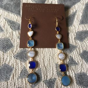 Argento Vivo Jewelry - Argento Vivo Multicolor Blue Gem and Gold Earrings