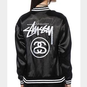 %100 Authentic Black STUSSY Bomber Jacket! FIRM