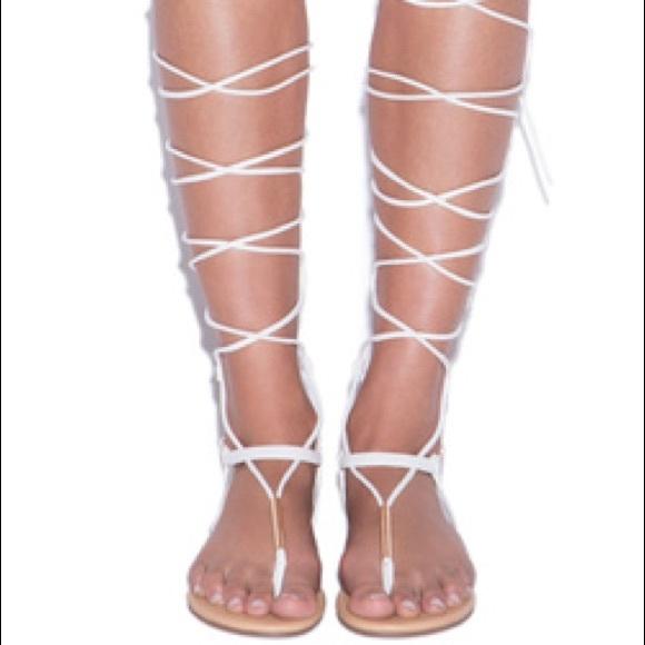 2c9c4990ea2 Shoe Dazzle Shoes | White Lace Up Gladiator Sandals | Poshmark