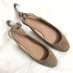 Madewell April Ankle Wrap Otter Brown Suede Flats