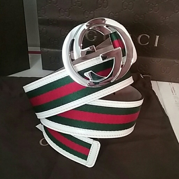 54% off Gucci Other - NWT Gucci Belt White Green Red ...