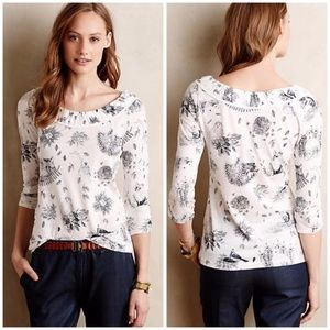 """Anthropologie """"forest"""" print top XS"""