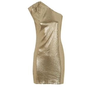 Michael Kors Gold Sequin Cold Shoulder Dress Sz S