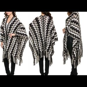 Sweaters - New Chevron Print Fringe Blanket Poncho One Size