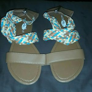 Shoes - Rue 21 Tan & Multi-touch Stap Sandals Size 10