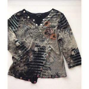 🥀BoHo Chic ~ Black/Gray Metal Studded Top ~ Sz XL