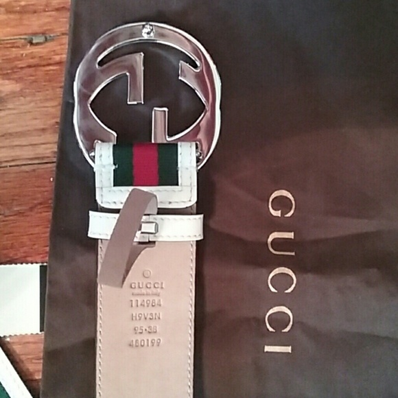 54% off Gucci Other - ☇Authentic Gucci Belt White Green ...