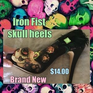 NEW iron fist skull heels