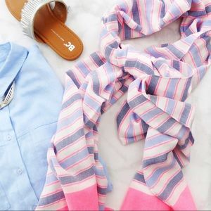 Neon Pink and Blue Striped Scarf