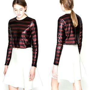 Zara sequin stripe color block crop top red black
