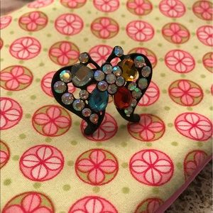Fun bejeweled butterfly ring, adjustable