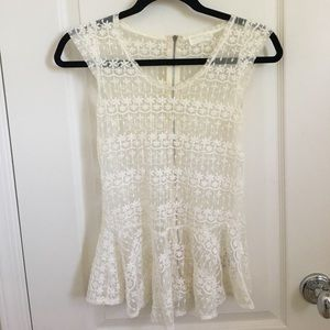 [Zara] Lace peplum top
