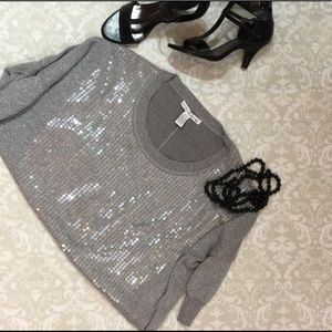 Tops - Silver and Gray Sweater with Clear Sequin Detail