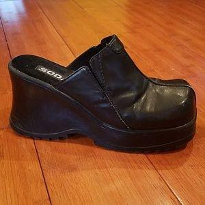 Soda Shoes - SODA Black Leather Wedge Slip Ons