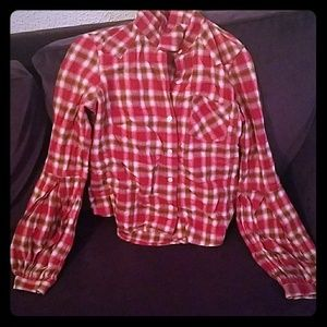 Tops - LOWEST PRICE Plaid button up with bell sleeves