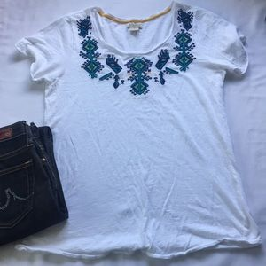 Lucky Brand White Tee with Embroidery Details