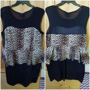 American City Wear Dresses & Skirts - Peplum cheetah print mesh bodycon dress