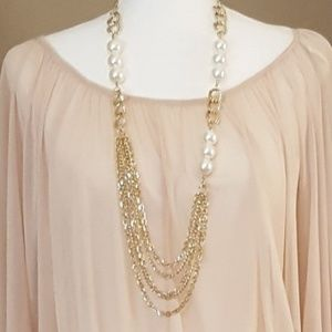 Gold and Large Pearl Statement Necklace