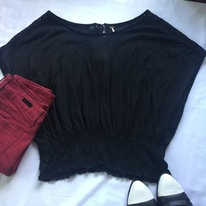 Free People Black Gathered Waist Key Hole Back Top