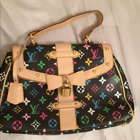 louis vuitton louis vuitton colored bag with locked from