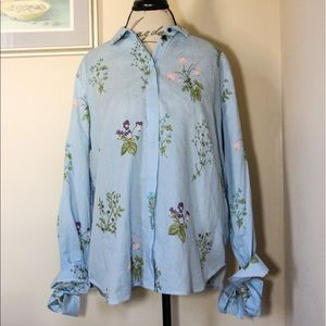 Topshop Floral Stripe Tie Sleeve Shirt