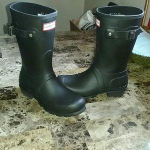💘💖HUNTER MATTE BLACK Short RAIN BOOTS 5