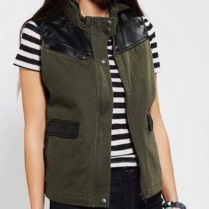 Faux Leather Army Green Vest