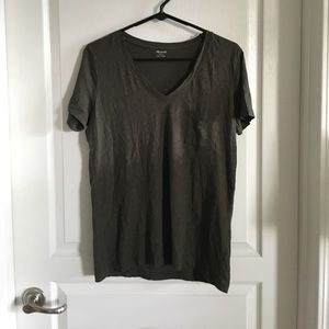 Madewell Whisper Cotton V-Neck Pocket Tee Sz Med