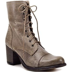 Steve Madden Leather Moto Heeled Boots