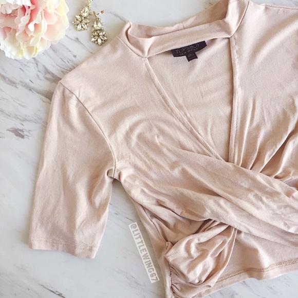 6b006fc8ba Topshop blush pink choker wrap crop top. M_593de20641b4e0f1e3023c78
