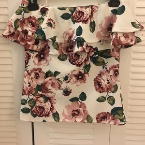 Tops - White Rose Strapless Top!