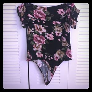 Tops - Off the shoulders, Black Floral Bodysuit
