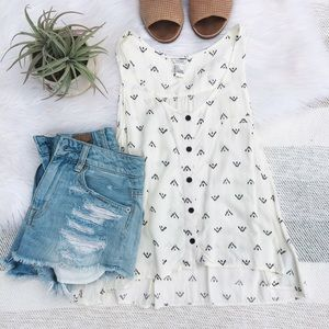 Forever 21 Tops - F21 White Flowy Button Up Tank