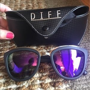 Diff Eyewear Accessories - DIFF Eyewear Rose Matte Black Pink Mirror Lens