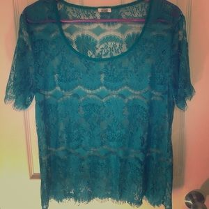 Fossil Turquoise Lace Blouse