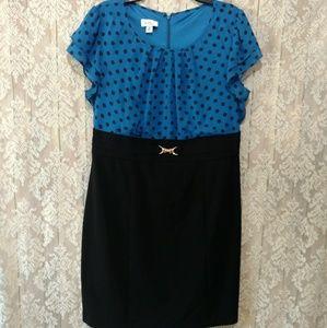 Alyx Dresses & Skirts - Alyx Blue Polka Dot Career Dress