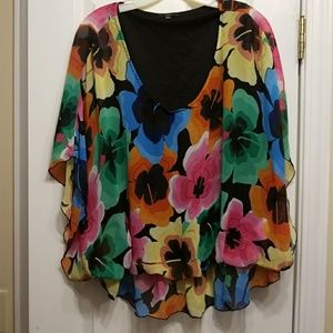 Milano Tops - 1X Milano floral dolman sleeve blouse