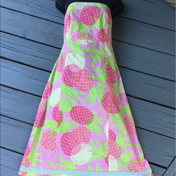 63 off lilly pulitzer dresses skirts lilly pulitzer strapless pineapple dress size 6 from. Black Bedroom Furniture Sets. Home Design Ideas