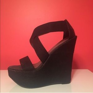 MIA Shoes - MIA Sexy Black Wedges - size 6
