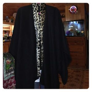 Jackets & Blazers - Faux fur and wool cape