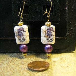 Horses Of The Sea Earrings purple gold dangle