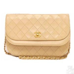 Chanel Lambskin double flap chain shoulder bag