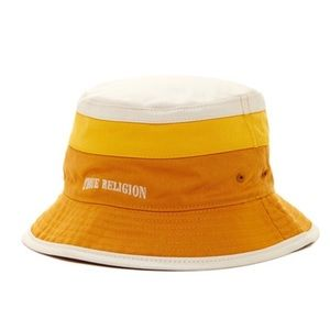 c4b1ac5ae4 True Religion Accessories - True Religion Yellow White Reversible Bucket Hat